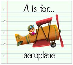 Flashcard letter A is for aeroplane - stock illustration