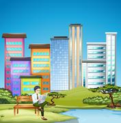 Man reading newspaper in the city park - stock illustration