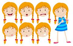 Girl with blond hair with many facial expressions - stock illustration