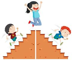Boys running up and down the stairs - stock illustration