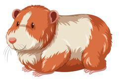 Furry hamster with happy face - stock illustration
