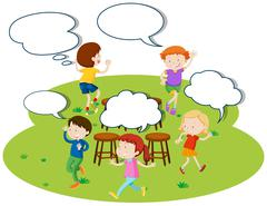 Children playing music chairs in the park Stock Illustration
