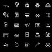 Application line icons with reflect on black Stock Illustration