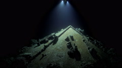 Cousteau's underwater world  the pre continent. Light moving over the submarine  Stock Footage