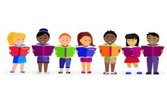 Group of Children Reading Books Stock Illustration