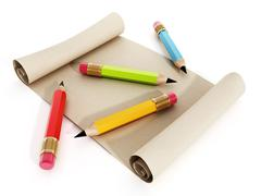 Multi colored pencils standing on rolled paper - stock illustration