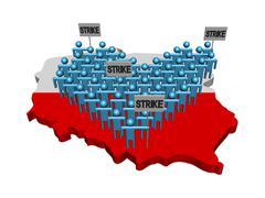 Stock Illustration of workers on strike on Poland map flag illustration