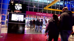 One side of movie theater corridor Stock Footage