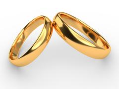 Wedding gold rings - stock illustration