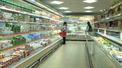 People in supermarket go shopping.Editorial. Stock Footage