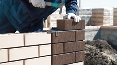 Construction of a brick house Stock Footage