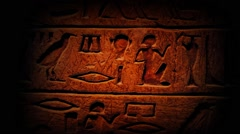 Pan Across Ancient Egyptian Hieroglyphics Stock Footage
