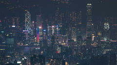 Hong Kong cityscape skyline from Fei ngo shan Kowloon Peak night timelapse Stock Footage