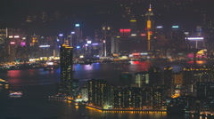 Stock Video Footage of Top view of Hong Kong night cityscape, View from kowloon bay downtown timelapse