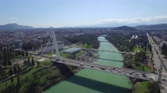 Aerial view of Millennium bridge over Moraca river, Podgorica Stock Footage