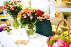 Delivery of flowers Stock Photos