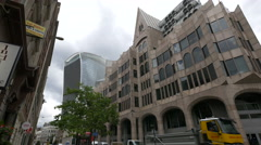 Great Tower street with modern and old buildings in London Stock Footage