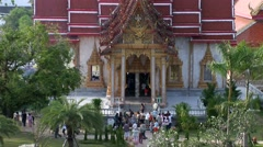 Tilt shot of the Wat Chalong Temple Stock Footage