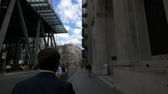 Walking by the Leadenhall Building in London - stock footage