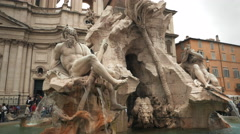 Piazza navona fountain gimbal shot Stock Footage