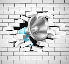 Megaphone Breaking Brick Wall Piirros