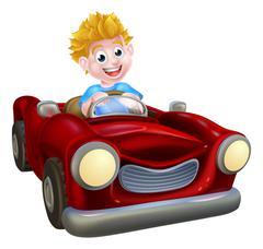 Cartoon Boy Driving Car Stock Illustration