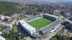Aerial view of soccer stadium in Podgorica Stock Footage
