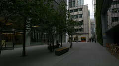 Small park near 20 Fenchurch Street tower in London Stock Footage