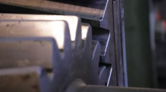 Close up of metal gear, Mining industry detail Stock Footage