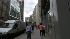 Men and women walking on Fenchurch Street in London - stock footage