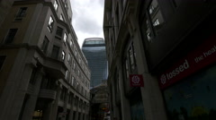 Whittington Ave with 20 Fenchurch Street and Leadenhall Market in London - stock footage
