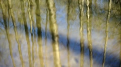 Reflection of trees with circles on the water Stock Footage