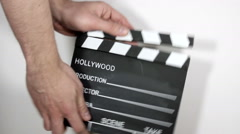 Film Clapperboard On White Background Stock Footage