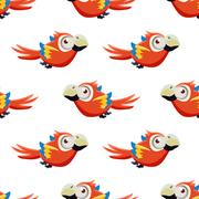 Cute Red Macaw Seamless Pattern - stock illustration