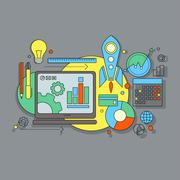 flat design  website development, graphic design, branding, seo - stock illustration
