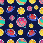 Seamless Print With Fantastic Planets - stock illustration