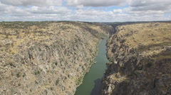 Aerial view over canyon Stock Footage