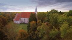 The old Kaarma church in Saaremaa Stock Footage