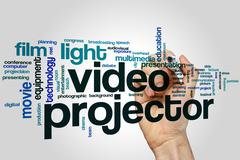 Video projector word cloud - stock photo