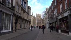Cambridge England University town center bike riders 4K Stock Footage