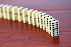 Dominoes on a wooden background - stock photo