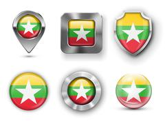 Stock Illustration of Myanmar, Burma Flag Badges
