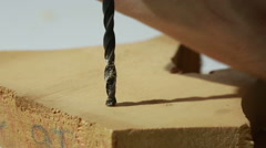 Auger bit drilling wood Stock Footage
