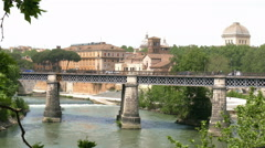 Brigde over river tiber in rome Stock Footage