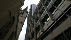 20 Fenchurch Street and Saint Margaret Pattens Church seen in London Stock Footage