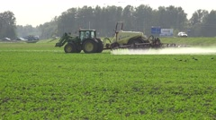 Tractor spray rape field with herbicide chemicals in autumn. Panorama. 4K Stock Footage