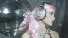 crystal headphones music party disco babe sexy dancer sparkle - stock footage