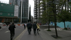 Lloyd's of London and Willis Towers seen from St Mary Axe in London - stock footage