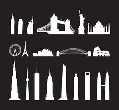 Famous landmarks cityscape Stock Illustration