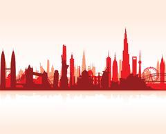 famous landmarks cityscape - stock illustration
